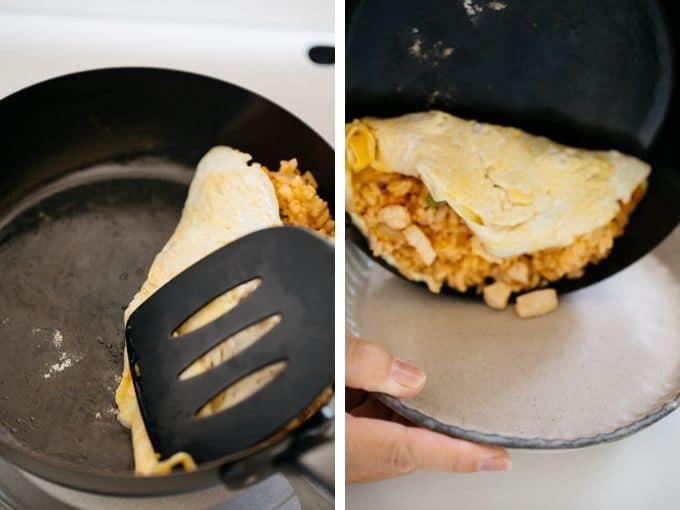 Two photos showing how to roll ketchup rice with fried egg