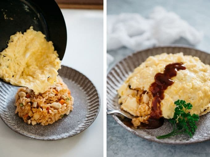 2 photos showing how to place scrambled egg on top of chicken ketchup rice