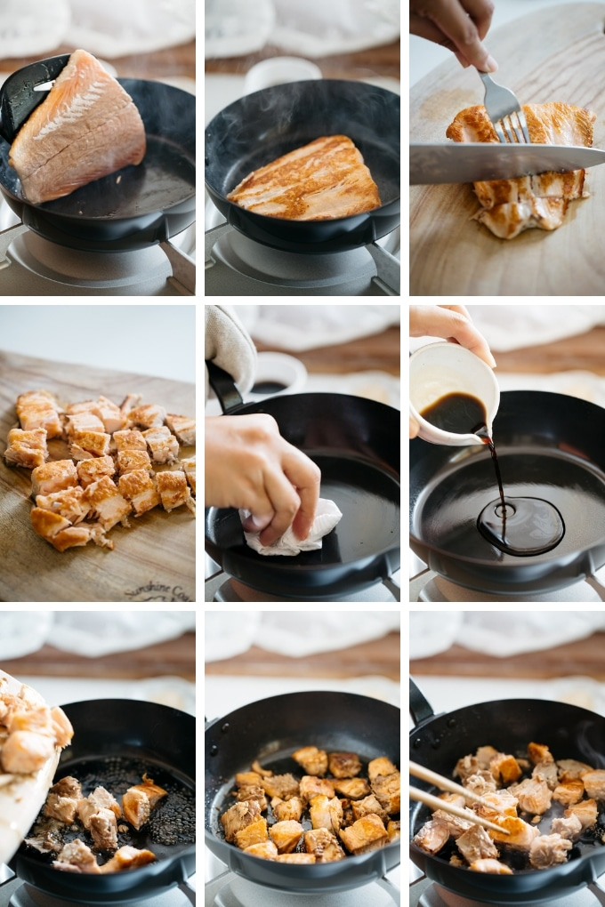 the second 9 steps of making teriyaki salmon bowls in 9 photos