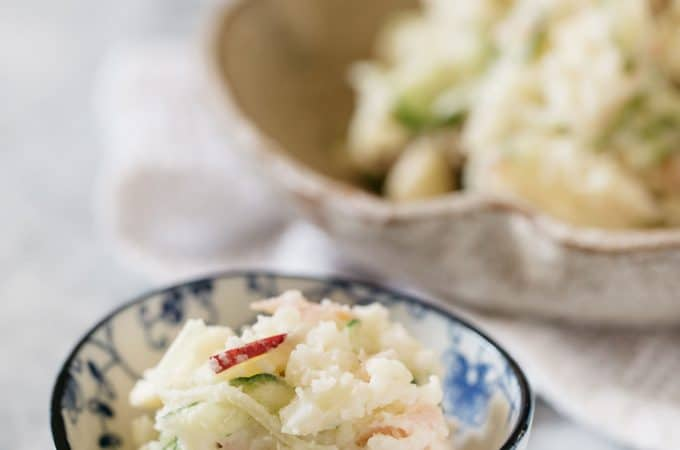Japanese potato salad served in a small bowl and a large bowl