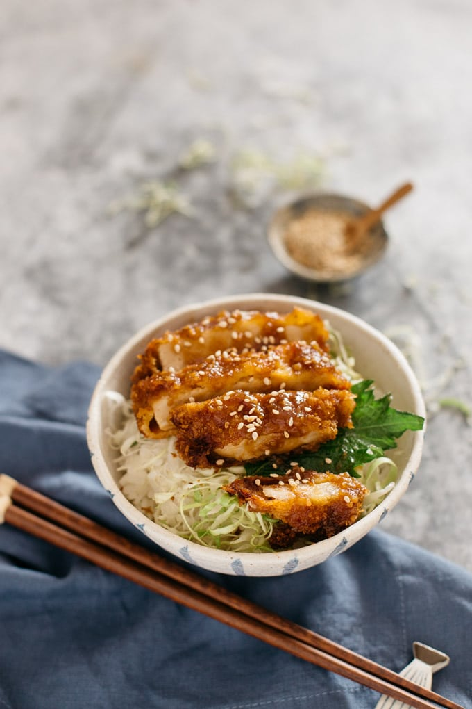 miso katsudon served in a Japanese pottery rice bowl