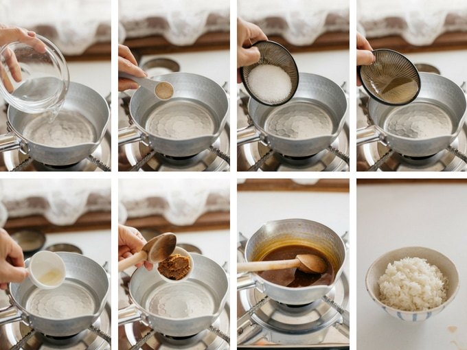 8 photos showing first 8 steps of making miso sauce for miso katsudon
