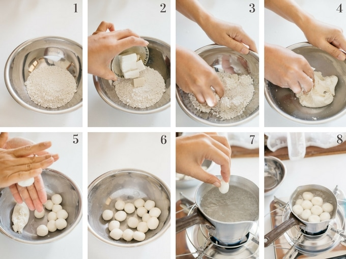 8 panels of photo showing making mochi balls process