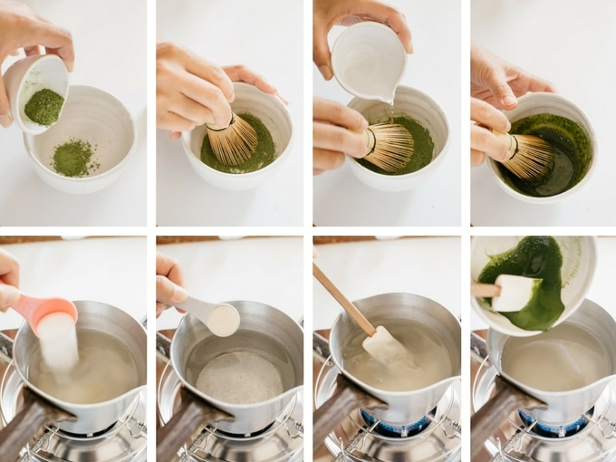 8 panels of photo showing making matcha jelly prosess