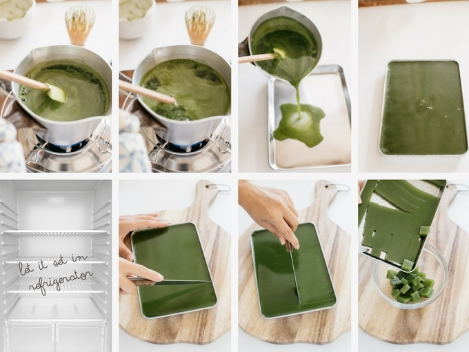 8 panels of photo showing second half of making matcha jelly process