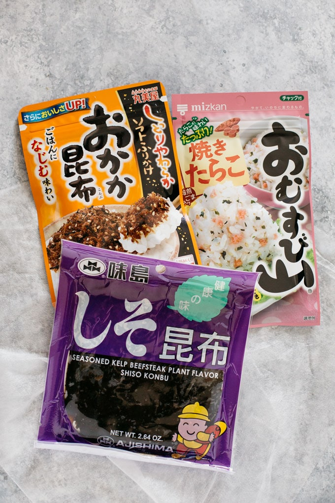 three packets of different kind of Japanese rice balls fillings
