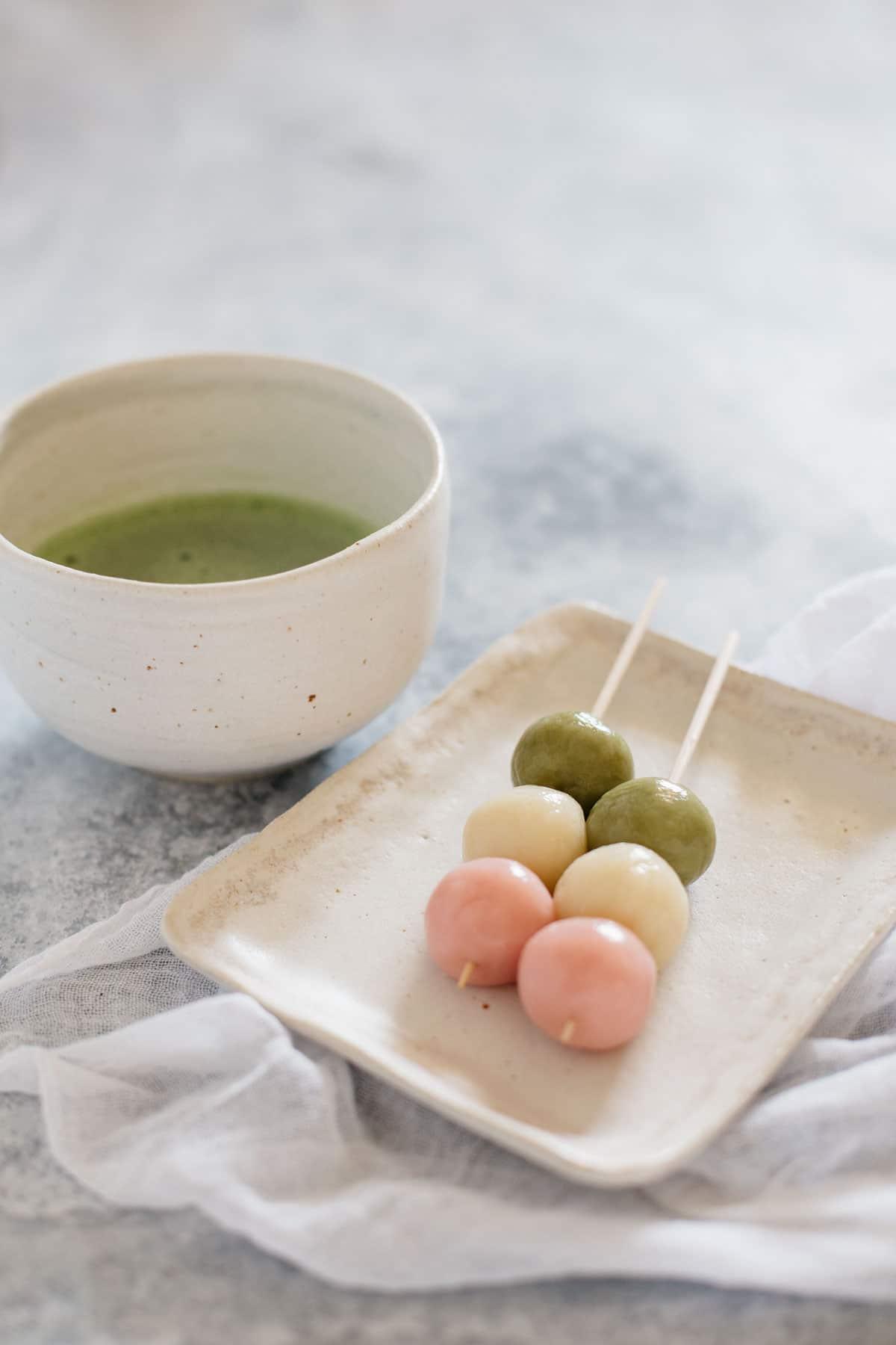 sanshoku dango served with matcha green tea