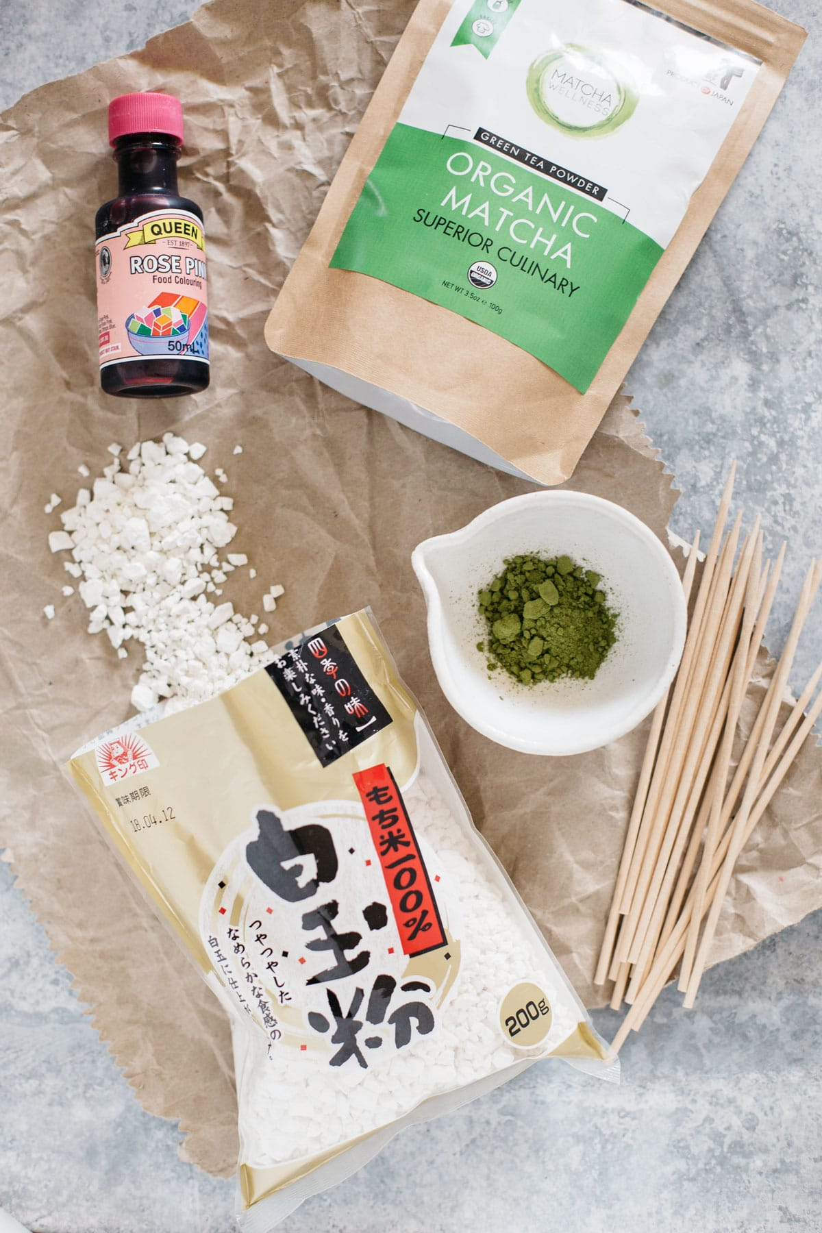 Sanshoku Dango ingredients, rice flour, pink colouring, matcha powder