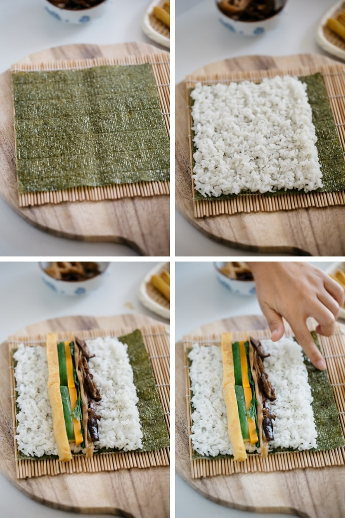 The first 4 steps of sushi rolls