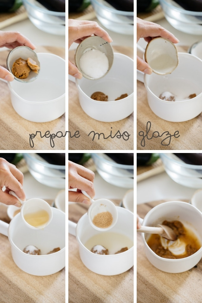 6 photos showing how to make sweet miso paste in 6 steps.