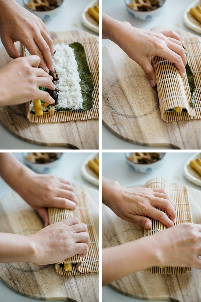 The last 4 steps of rolling futomaki sushi rolls