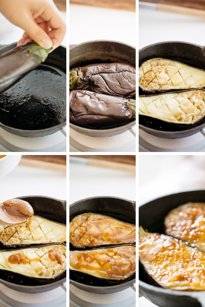 6 photos showing how to cook eggplant and glaze eggplant