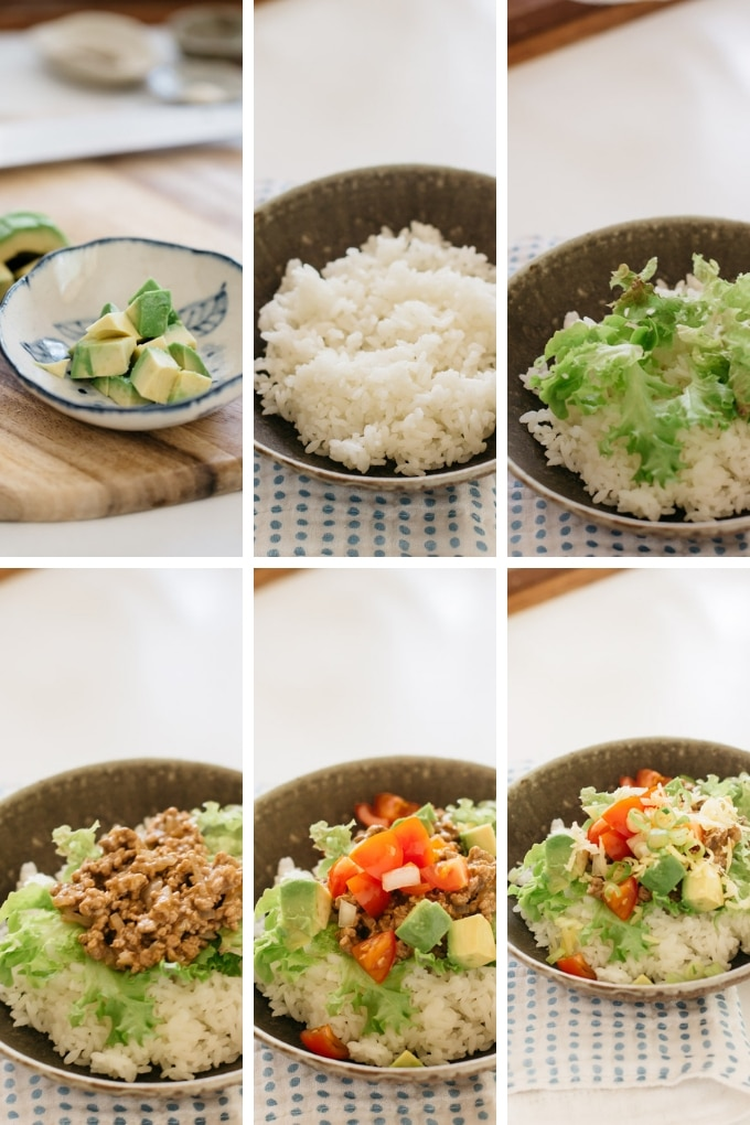 Taco rice assembling process in 9 photos