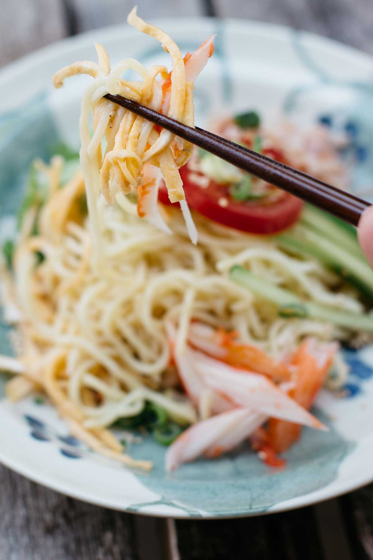 Cold Ramen Salad (Hiyashi Chuka) with Sesame Dressing