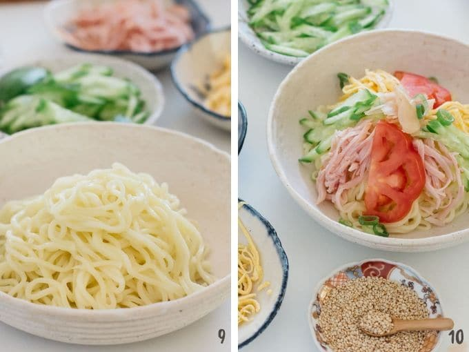 Two photos showing how to top ingredients over ramen noodles