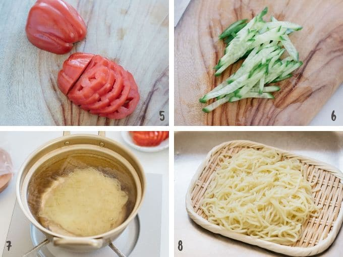 4 photos showing how to slice tomato, cucumber and cooking ramen noodles