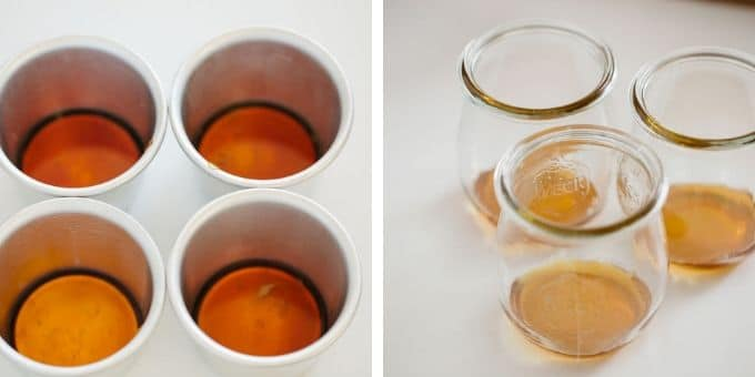 on the left 4 pudding molds with caramel sauce at the bottom, three small glass jars with caramel sauce at the bottom.
