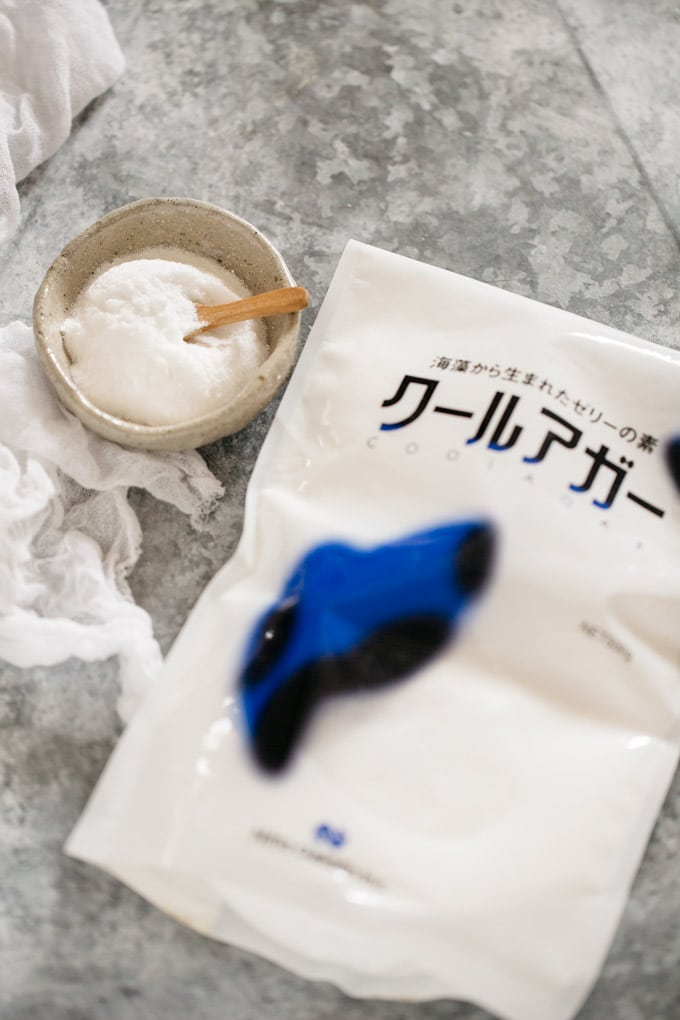 raindrop cake ingredient-agar powder and it's package