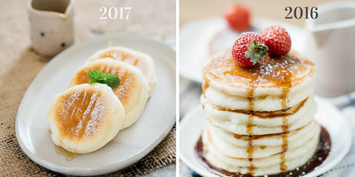 before and after comparison photos of Japanese souffle pancakes