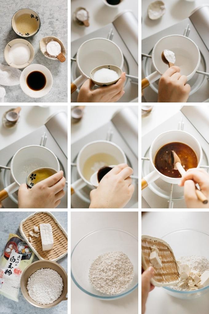 9 photos showing mitarashi dango making process