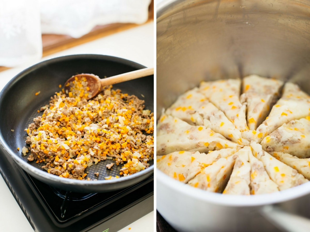 Japanese potato croquettes process, chopped onion, carrot and mince fried in a frying pan