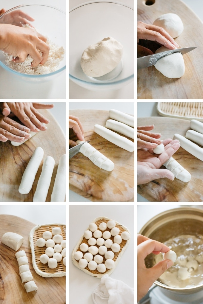 9 photos showing how to make dango dumplings from glutinous rice flour and silken tofu in nine photos