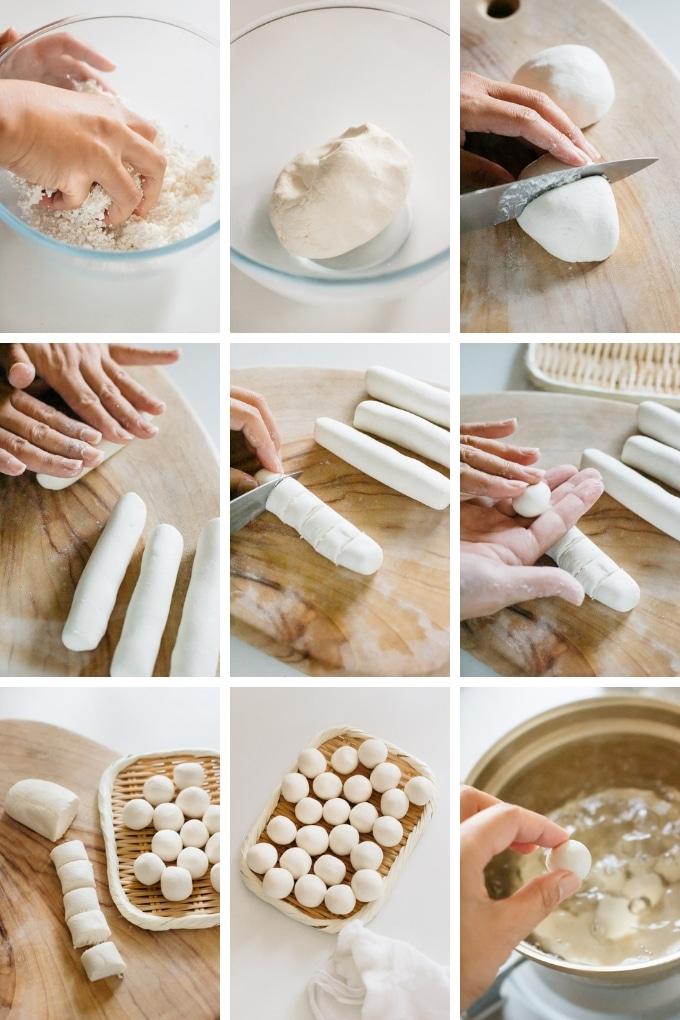 9 photos showing how to make dango dumplings from glutinous rice flour and silken tofu in nine photos