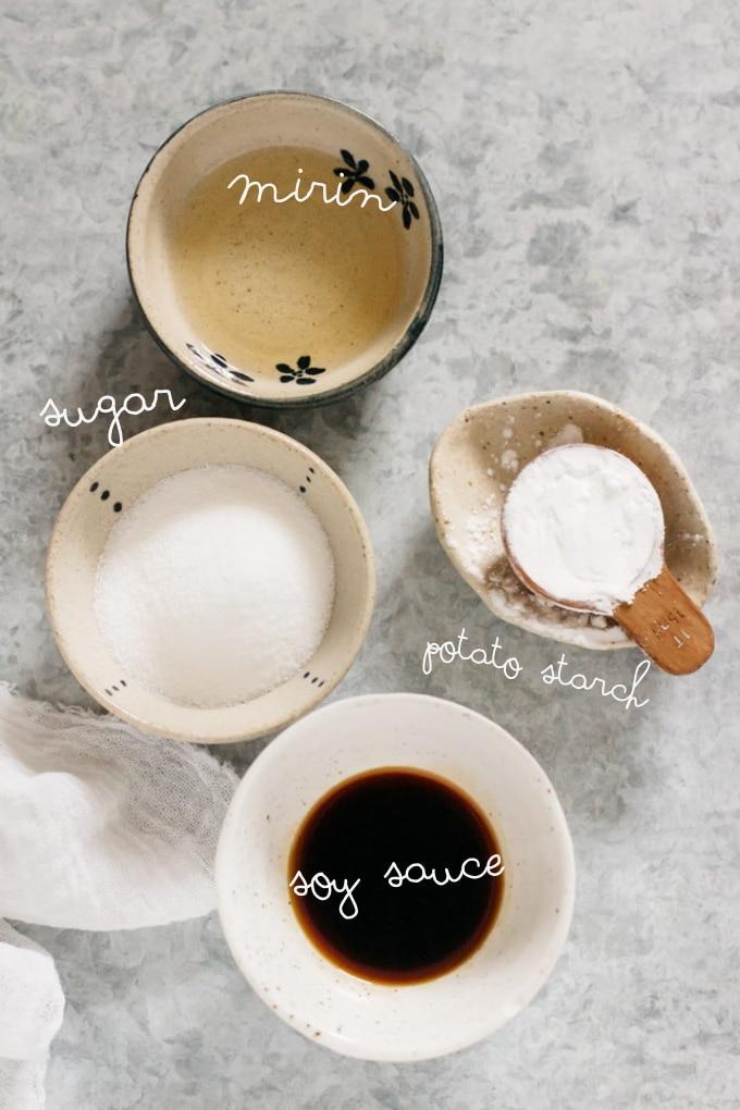 MItarashi sauce ingredients - soy sauce, mirin, sugar, and potato starch
