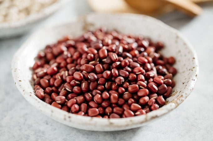 Adzuki beans in a small bowl