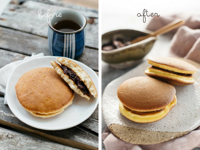 two photo comparison of photo improvement of dorayaki