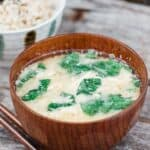 Egg and spinach miso soup
