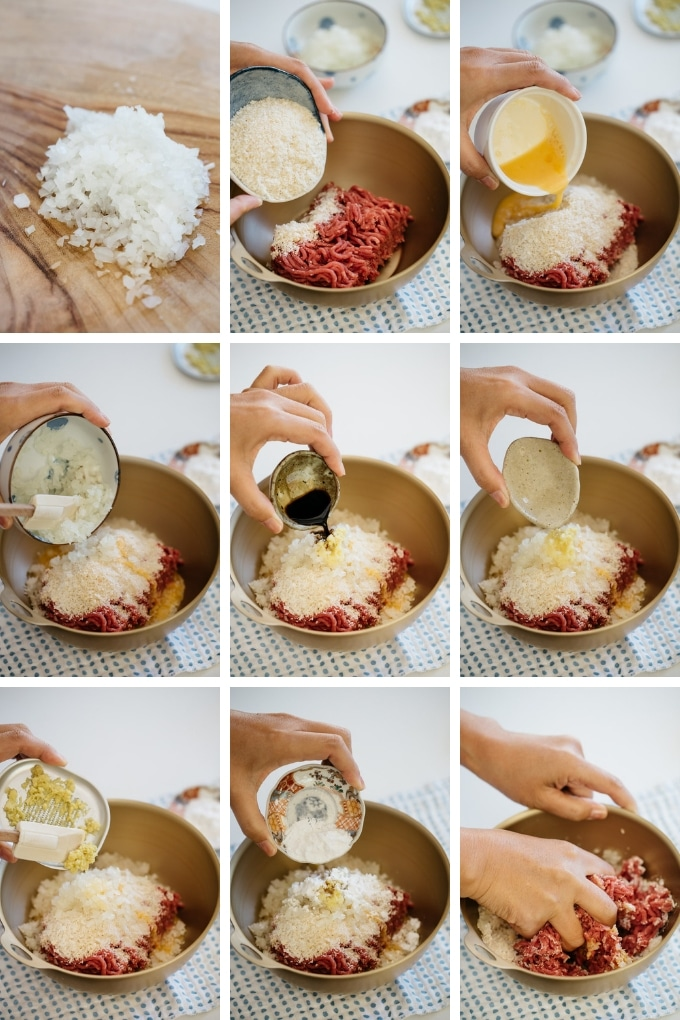 9 photos showing cutting onion, mixing all seasonings into ground beef in a mixing bowl