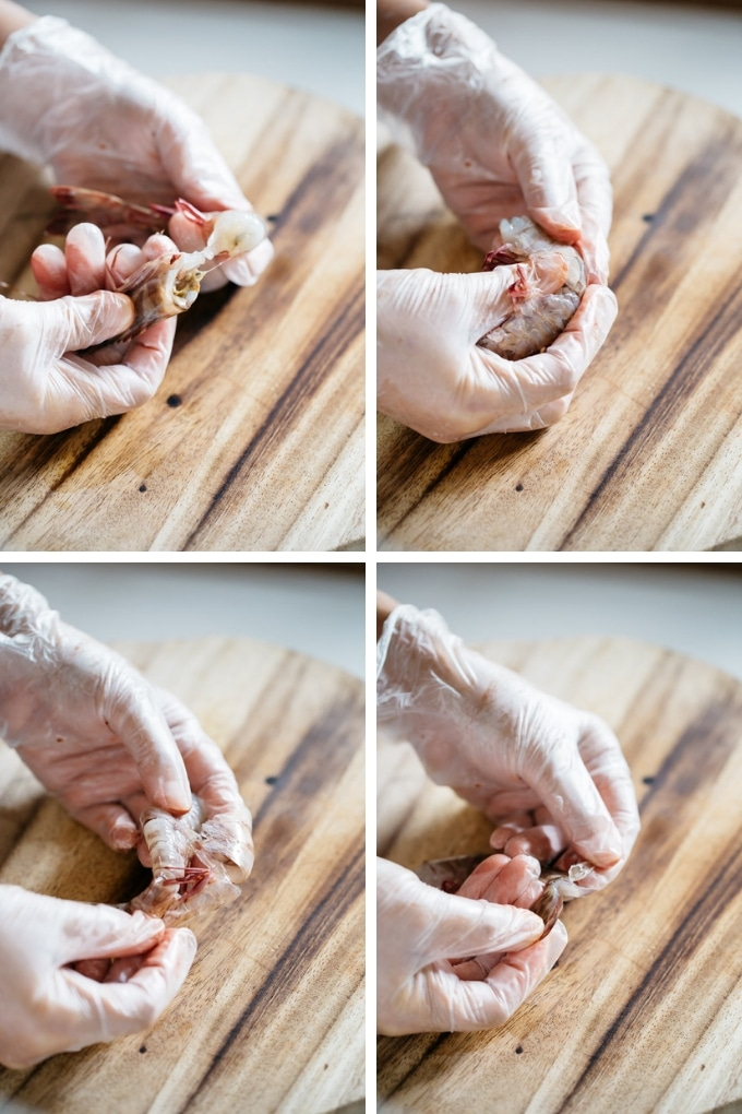 4 photos showing how to deshell devein the shrimps