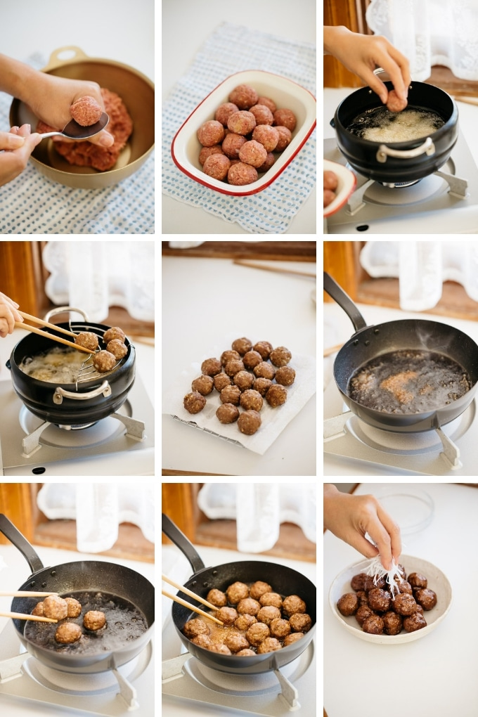 9 photos showing how to make even sized round meatballs and fry them with teriyaki sauce