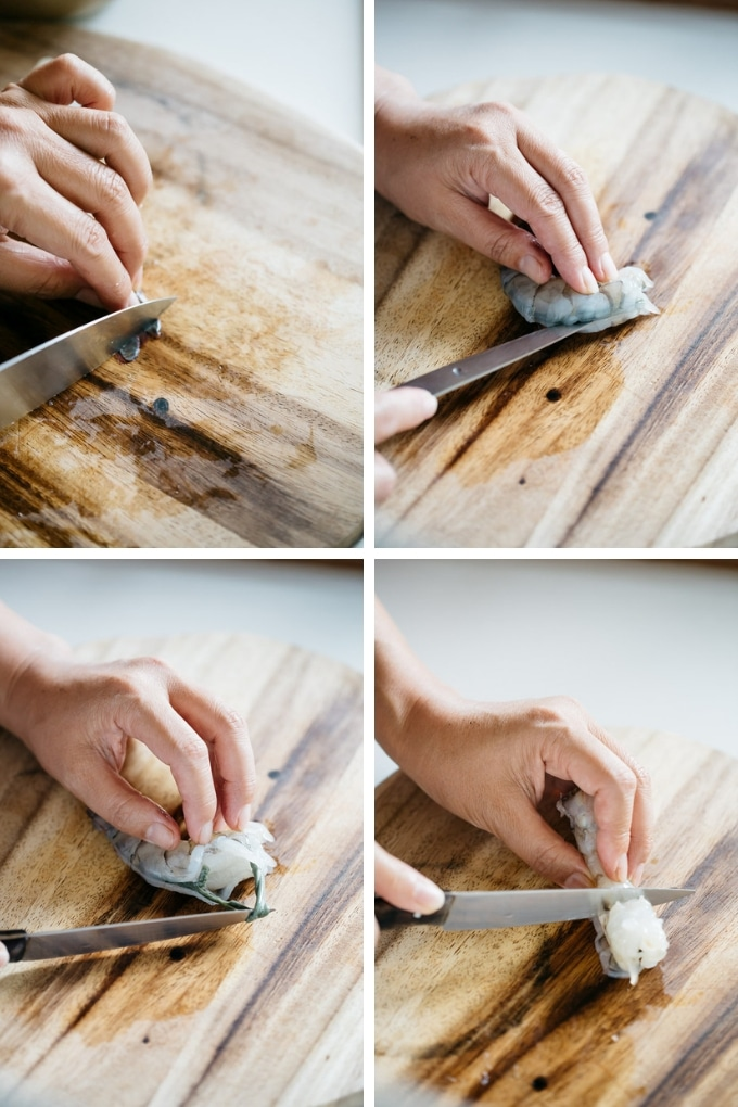The second 4 steps of making fried shrimps in 4 photos