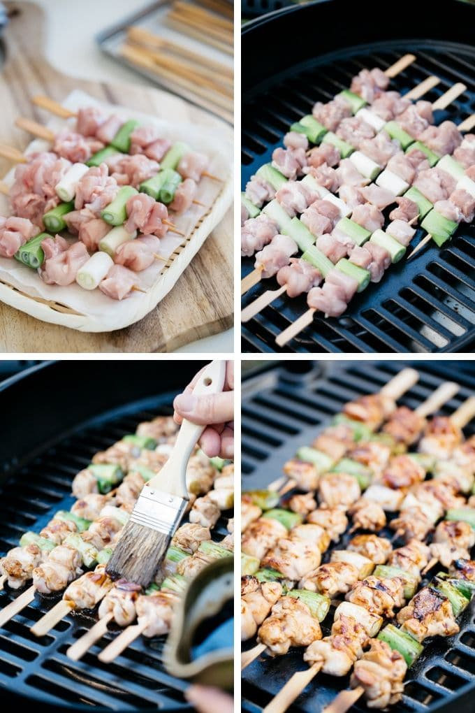 4 photos showing how to grill skewered chicken thigh with scallions over a bbq grill