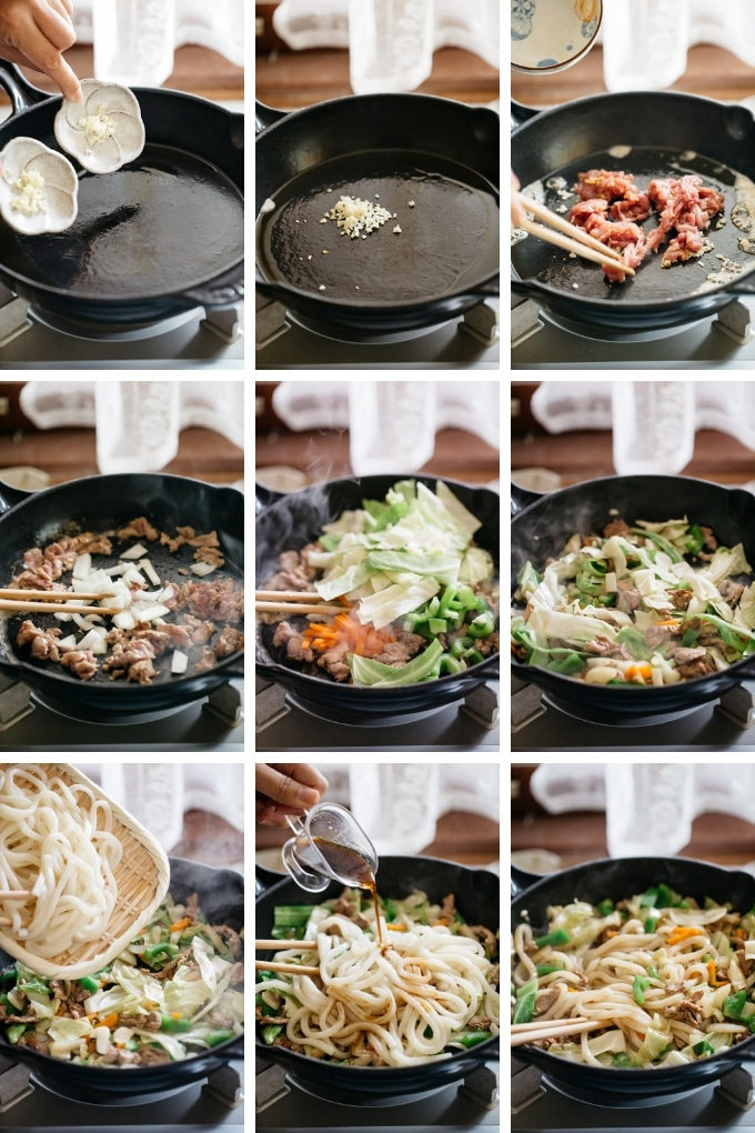 9 photos showing how to fry vegetables, pork and udon noodles.