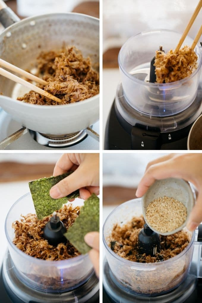4 photos showing mixing all Japanese condiments and cooking them in a saucepan then britze in a food processor.