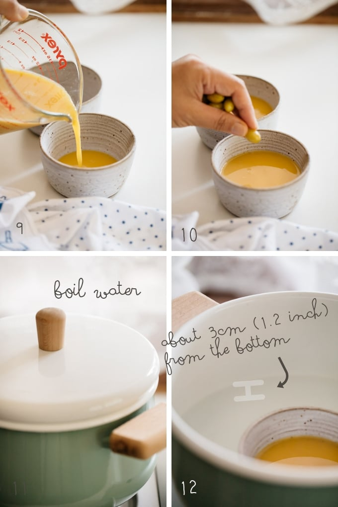 the Third 4 steps of making Chawanmushi in 4 photos