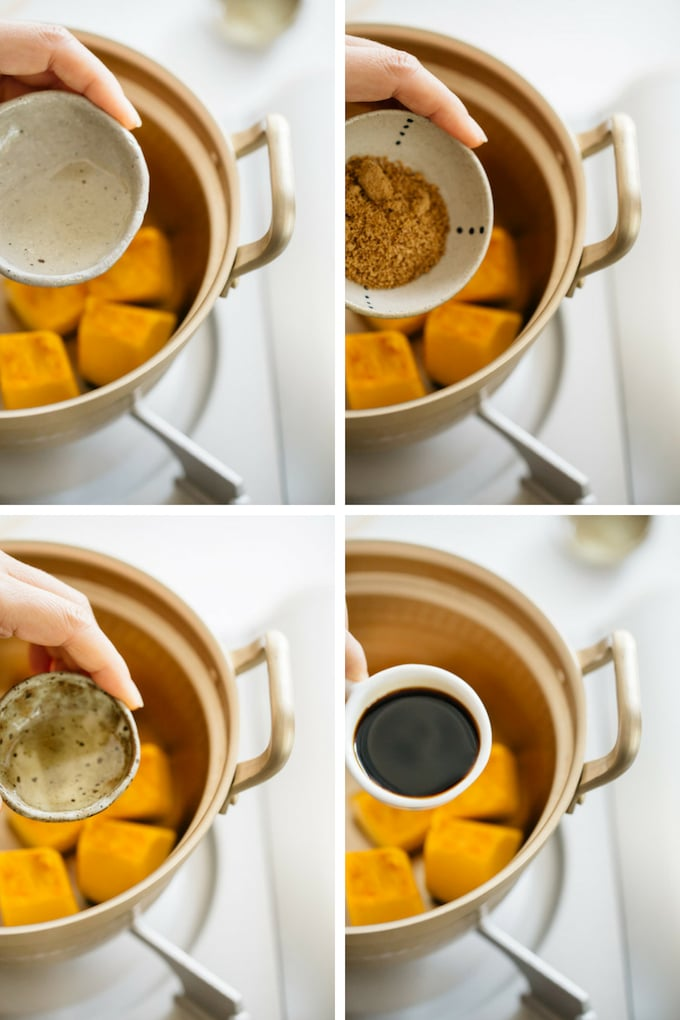 the second 4 steps of making kabocha no nimono process in 4 photos
