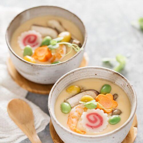 Japanese Chawanmushi Steamed Cup and Spoon set Mushi Wan Bowl Made in Japan