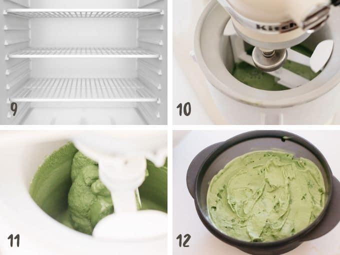 chilling the green tea ice cream mixture  in the fridge then churn then freeze in freezer
