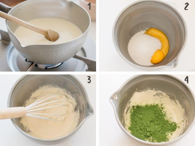 heating up milk and cream in a sauce pan and add it to egg and sugar mixture in 4 photos
