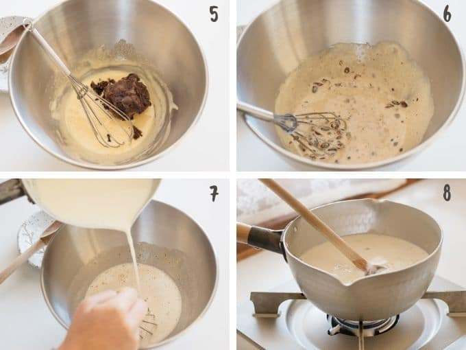 adding red bean paste into whisked yolks and sugar, then adding milk and cream mixture then heating it up in 4 photos