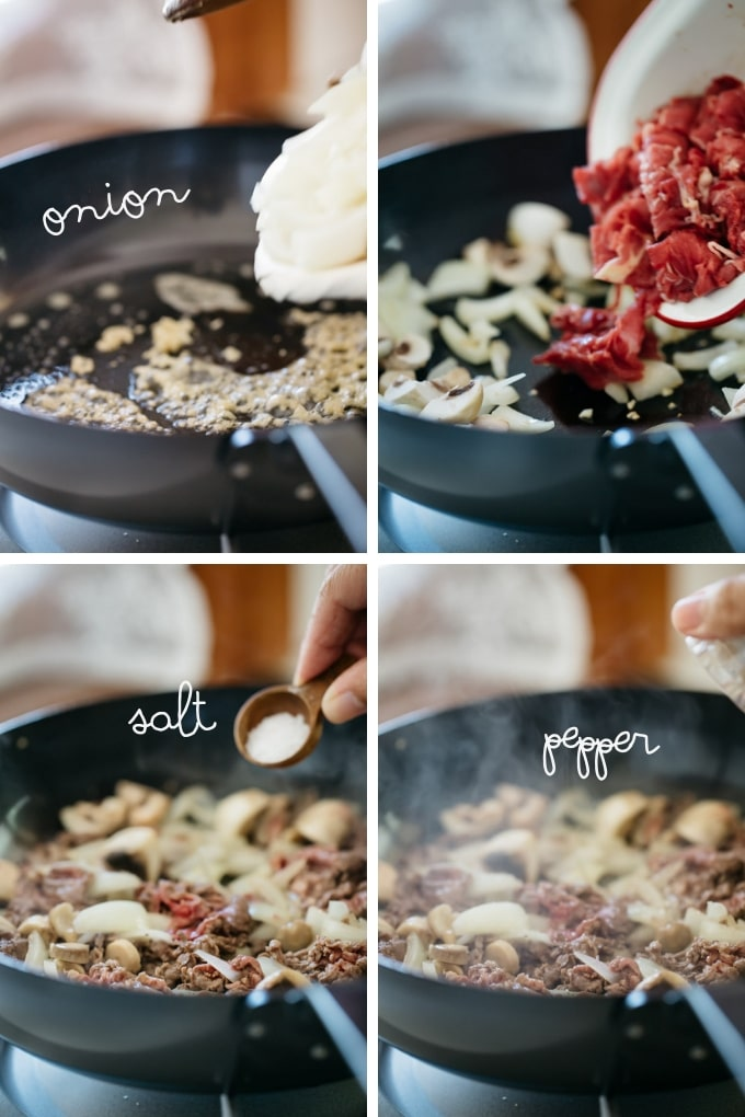 step by step photos showing frying beef, onion, and mushrooms in a frying pan