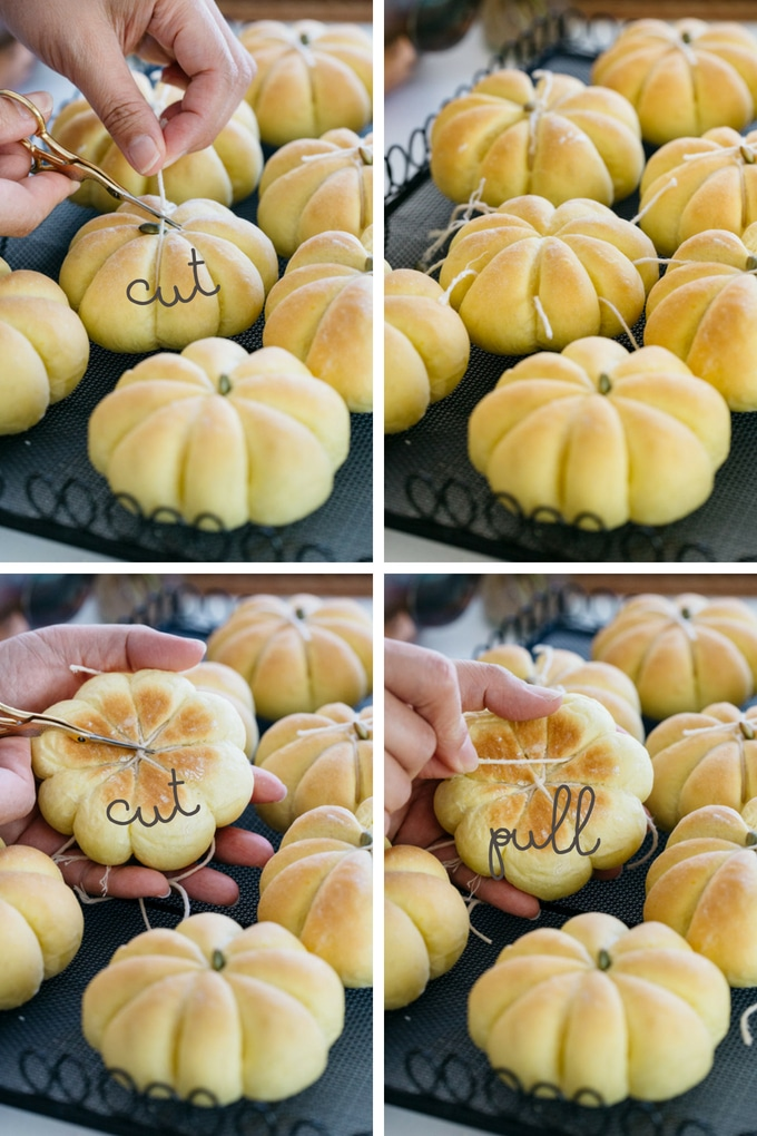 4 photos showing how to cut the twine off the Kabocha pumpkin bread