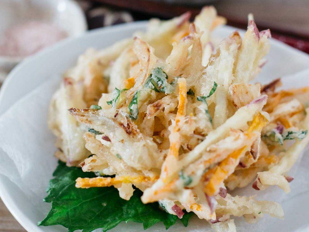 kakiage tempura served on a round plate