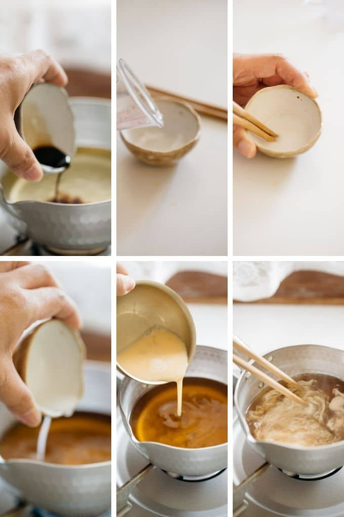6 photos showing how gently and slowly add beaten eggs into the dashi soup and stir