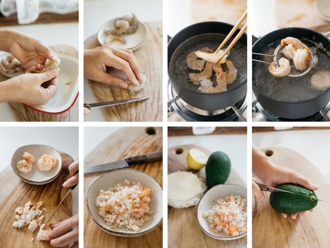8 steps of preparing prawn for gyoza filling