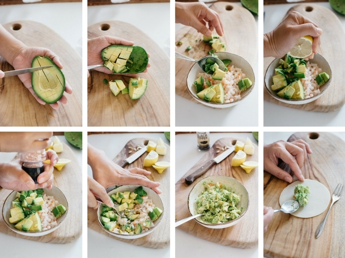 8 steps of preparing avocado for gyoza filling